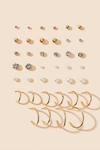front_Sabina Edith Gold Faux Pearl & Rhinestone Decor Earrings 20pairs