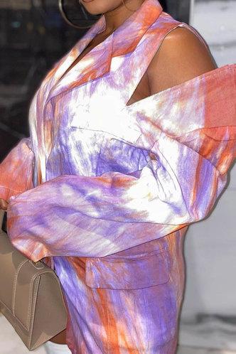 back_Mock Tie Dye  Long Button Distressed Tie Dye Outerwear