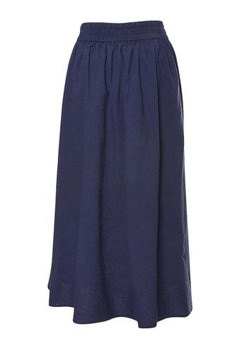 back_High Waist Solid Buttons Navy Blue Skirts