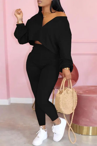 front_Elastic Band Pullover and Black Plus Size Pants Sets