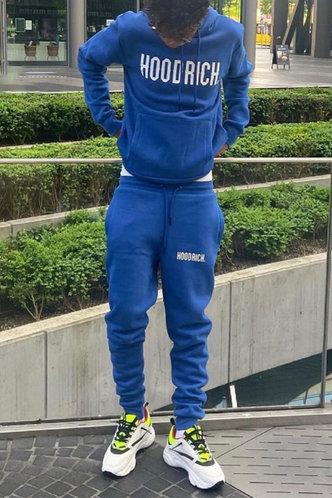 back_Casual Letter Print Royal Blue Men Pants Sets