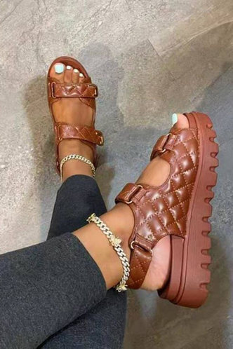 front_Flat Open Toe Brown Wedges