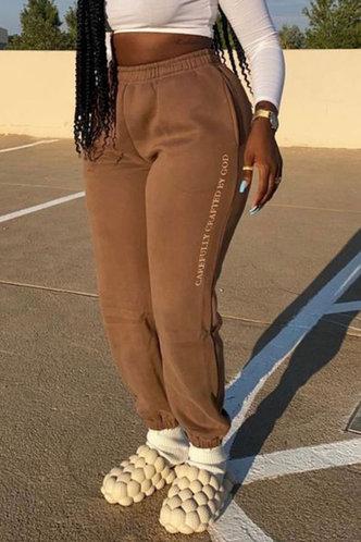back_Mid Waist Letter Sweatpants Brown Pants