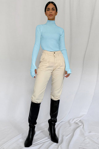 back_Belle Elaine Mint Blue Knit Dress