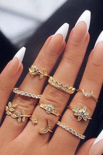 front_Maxine Elizabeth Gold Rhinestone Charm Ring 9pcs