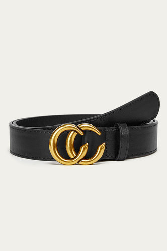 front_Roxanne Eden Black Double O-ring Buckle Belt