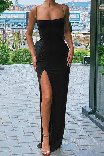 back_Black Cami Split Thigh Dress