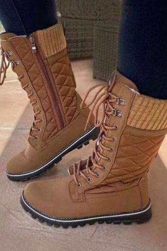 back_Low Heel Round Toe Khaki Boots