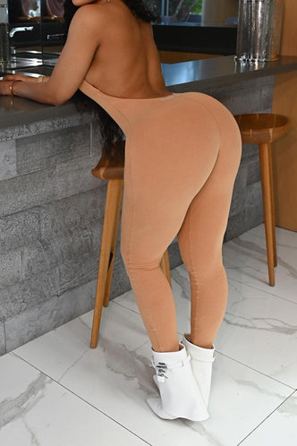 back_Sexy Plain Slim Deep V Neck Khaki Jumpsuits