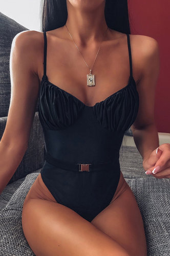 front_Tatum Elaine Black One-Piece Swimsuit