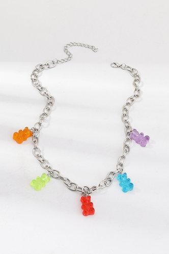 back_Leonore Elma Sliver Bear Pendant Chain Necklace