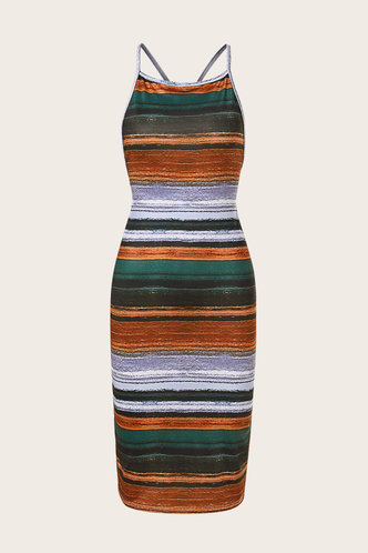back_Rosalia Elva Colorful Striped Bodycon Cami Dress