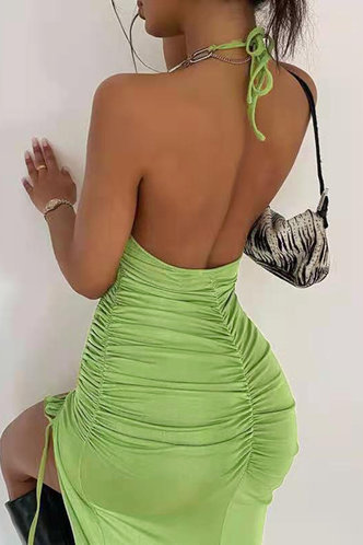 front_Helga Elma Green Halter Open Back Ruched Bodcon Dress