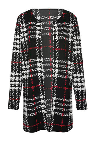 back_Alma Edith Black And White Plaid Open Front Coat
