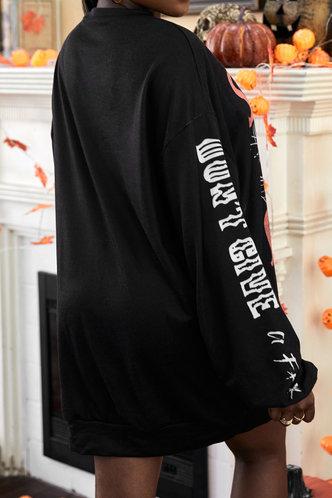 back_Casual Preppy Street Round Neck Letter Print Graphic Print  Black Sweatshirts & Hoodies