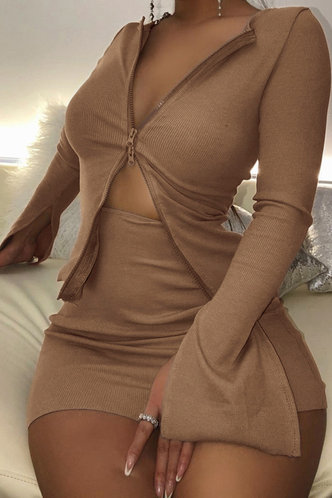 front_Regular Sleeve Long Sleeve Zipper Up Khaki Skirt Sets