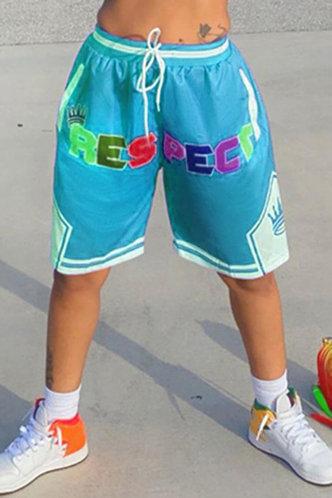 front_Rhea Elizabeth Teal Blue Shorts