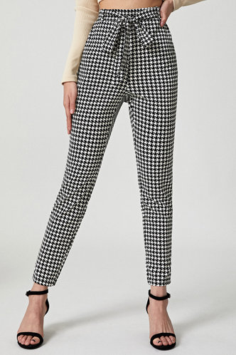back_Cecilie Black And White Houndstooth Drawstring Pants