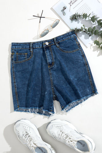back_Myrna Eartha Blue Denim Shorts
