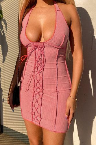 front_Matilda Elva Pink Plus Halter Bodycon Dress