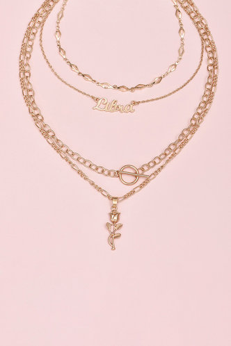 back_Gladys Garan Gold Letter Pendant Layered Necklace