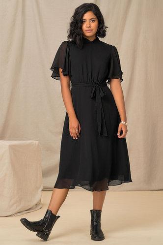 front_Such A Flirt Black Panel Dress