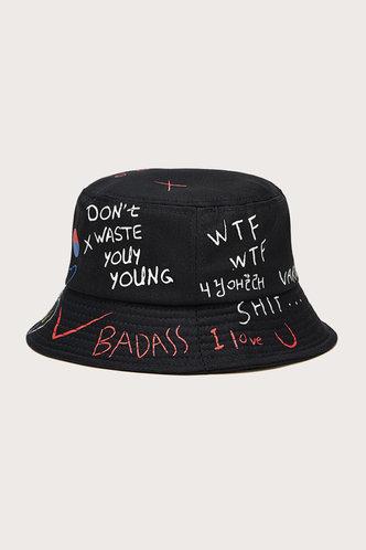 back_Jamie Eden Black Letter Print Bucket Hat