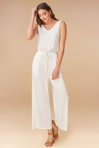 front_Never Alone White Jumpsuit