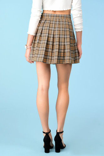 back_Butterscotch Khaki Plaid Skirt