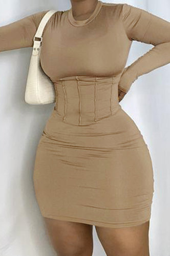 front_Bethel Eudora Brown Bodycon Dress