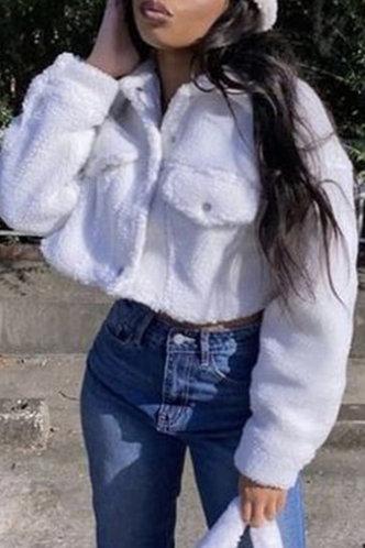 front_Cute Lapel White Outerwear