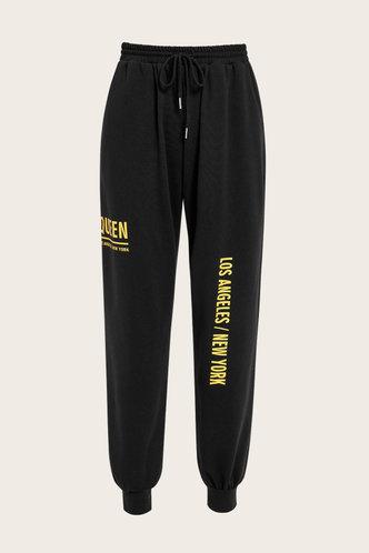 back_Mid Waist Letter Print Black Sweatpants