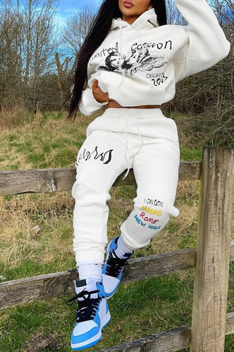 front_Pullover White Pants Sets