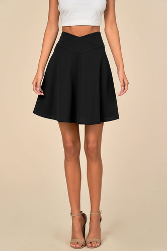front_Flippy Black Skirt