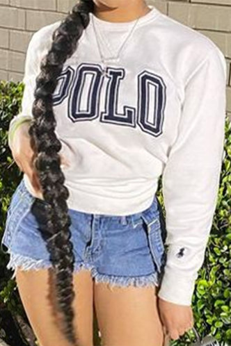 front_Casual Sporty Street Loose Fit White Plus Size Sweatshirt & Hoody