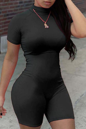 front_High Neck Black Rompers