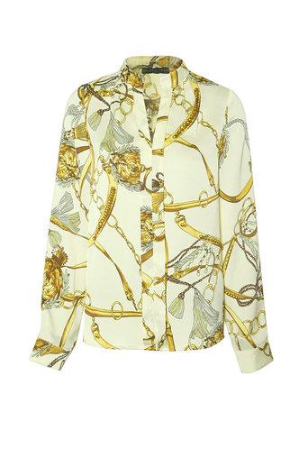 front_Amelia Edwina Apricot Floral Print Split Neck Shirt