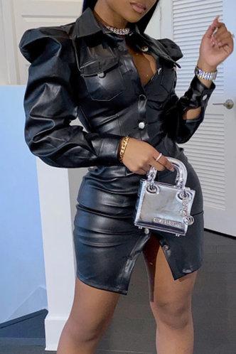 front_Casual Shirt Collar Plain Black Outerwear