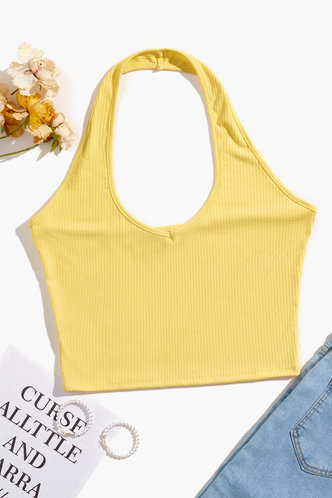 front_Dahlia Yellow Halter Top