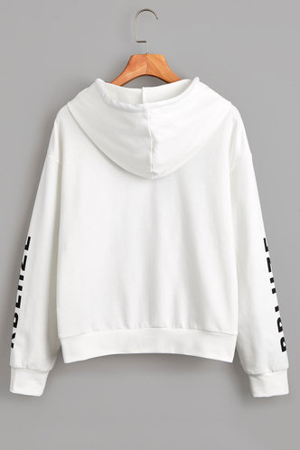 back_Don't Hate  Black And White Letter Sweatshirt