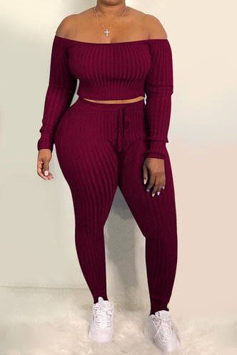 front_Pullover and   Wine Red Plus Size Pants Sets