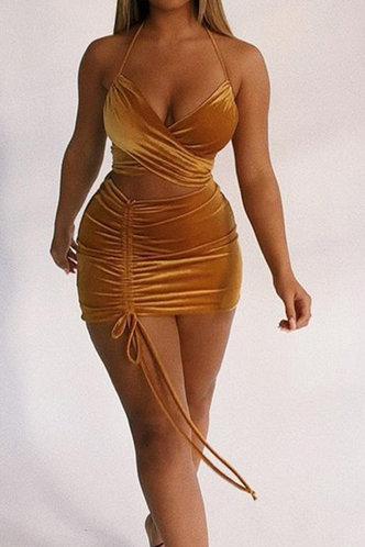 back_Joyce Elsie Brown Halter Drawstring Cutout Dress