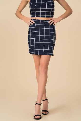 front_Grid Plan Navy Blue Plaid Mini Skirt