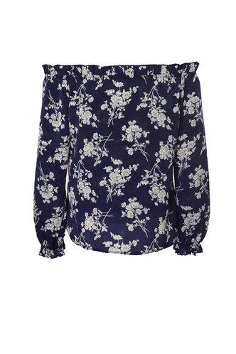 back_Flirt And Flourish Navy Blue Floral Bardot Top