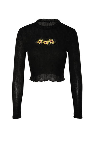 front_TGIF Black Long Sleeve Top