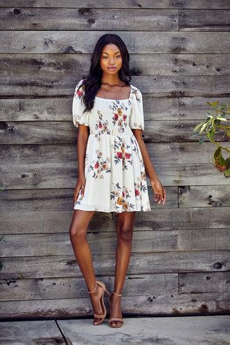 front_Escapade Ivory Floral Print Mini Dress