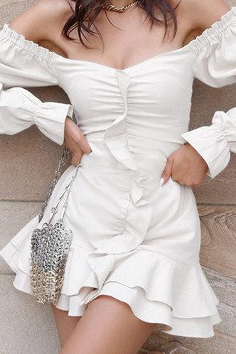 back_Cheryl Eartha White Ruched Dress