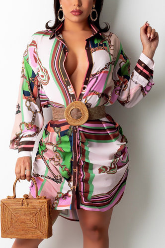 front_Vacation Long Sleeve Lantern Sleeve Multicolor All over print Dresses
