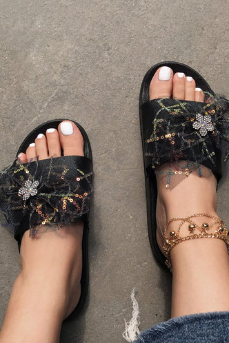 front_Flat Open Toe Black Slides & Flip Flops