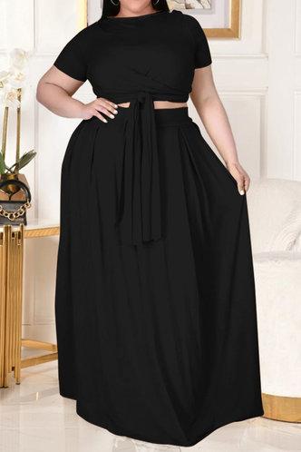 front_Davina Eunice Black Plus Size Skirt Set